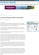 Lessons will repeat until we learn them _ afr.com