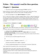 Python Tutorial Questions Chapter 1 (1)