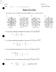 Finding Slope of a Line Homework