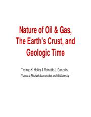 Nature of Oil & Gas - The Crust Geologic Time