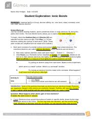 Gizmos Lab Ionic Bonds and Valance Electrons.docx - Name ...