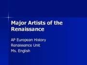 Major Artists of the Renaissance