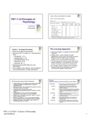 PSY1110 F2012 Tutorial 10 Personality