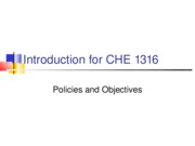 Lectures 1 and 2 CHE 1316