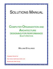 Solution Manual Computer Organization And Architecture 8th Edition