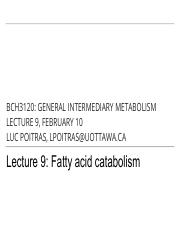 9 - Fatty Acid Catabolism