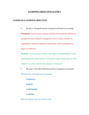 Learning Objectives Exam 2