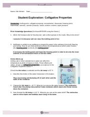 Student Exploration- Colligative Properties (ANSWER KEY ...
