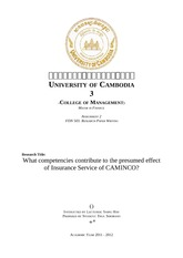 FDN 503 (2) What competencies contribute to the presumed effect of Insurance Service of CAMINCO