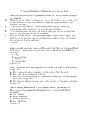 Plymouth Plantation Quiz