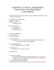 CH 3 Notes : Clinical Assessment, Diagnosis, and Treatment Assessment