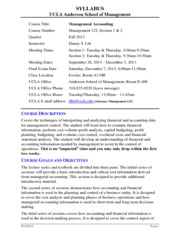 Syllabus for Management 122 - Fall 2013