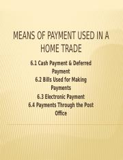 Chapter 6 Means of payment used in a home trade