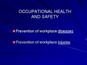 Occupational Health and Safety Lecture