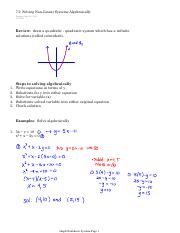 7.2  Solving Non-Linear Systems Algebraically