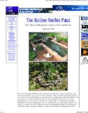 Garden Pond. Tips, Tricks and Reminders