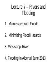 ES 2GG3 - Lecture 7 - Rivers and Flooding - A2L