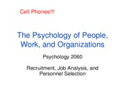 Lecture 4 - Recruitment, Job Analysis, and Personnel Selection, Full Slides, Oct. 1, 2009
