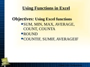 Lecture 3 Advanced Excel Functions