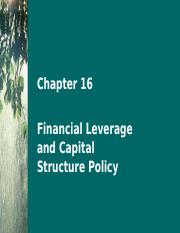 Chapter 16 Financial Leverage and Capital Structure Policy