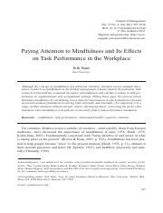 Paying Attention to Mindfulness and Its Effects on Task Performance in the Workplace