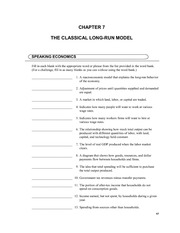 Chapter 7 - The Classical Long-Run Model Questions