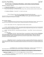 History of Pharmacy - Class Outline - April 5, 2011