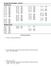 Bond Energy Worksheet Answers.pdf - Bond Energy Worksheet ...