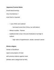 Japanese Cuisine Notes