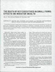 THE DEATH OF KEY EXECUTIVES IN SMALL FIRMS- EFFECTS ON INVESTOR WEALTH