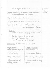 Notes on Organic Molecules, Functional Groups