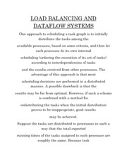 LOAD BALANCING AND DATAFLOW SYSTEMS