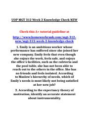 UOP MGT 312 Week 2 Knowledge Check NEW.doc