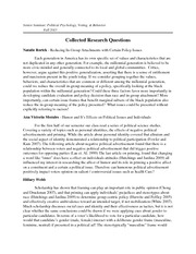 Collected Research Questions