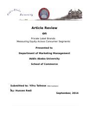 BRAND MANAGEMENT ARTICLE REVIEW