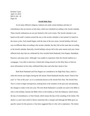 Paper 2 - Jewish Holy Days