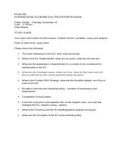 ECON 301 Final Study Guide, Fall 2015