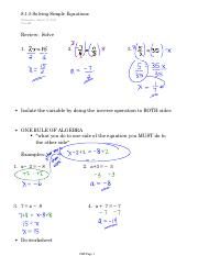 8.1.5 Solving Simple Equations