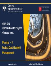 Module 5 - Project Cost (Budget)   Management