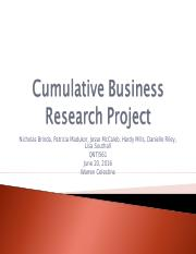 Cumulative Business Research Project PPT 6-20-16 (1)
