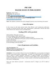 Syllabus Major Issues in Philosophy Phi 1500 Spring Session 2018.docx