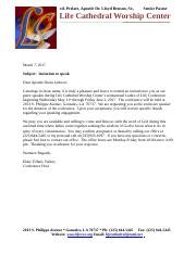 Apostle Dwan Jackson Invitation Letter