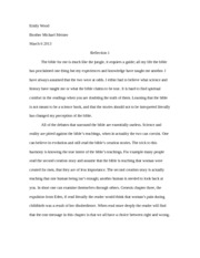 Bible Reflection essay 1
