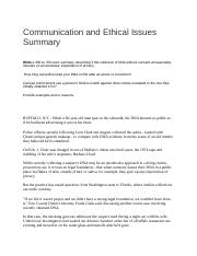 Communication and Ethical Issues Summary