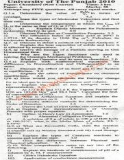 Past Papers 2010 Punjab University BA BSc Chemistry Paper A