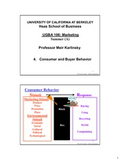 UGBA 106 Marketing: Consumer Behavior for Print Lecture