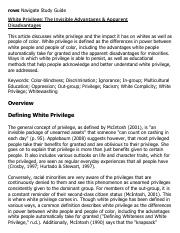 White Privilege_ The Invisible Advantages & Apparent Disadvantages Research Paper Starter - eNotes.p
