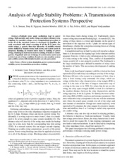 Analysis of Angle Stability Problems  A Transmission