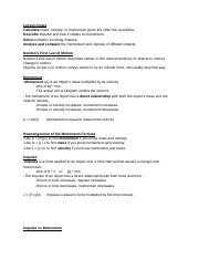 Impulse and Momentum Notes