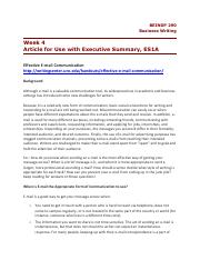 Article for Use with Executive Summary, ES1A